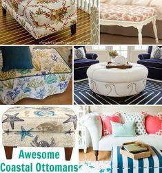 Awesome Coastal Ottomans. DIY & Shop: http://www.completely-coastal.com/2016/01/coastal-nautical-ottoman.html