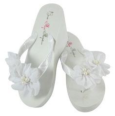 White Wedge Wedding Flip Flops