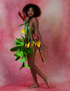 """""""The Birth Of Fashion Revisited"""" project of foliage Couture inspired by the exuberant nature of Kauai (www.loudacollection.com) Photography: Gilles Larrain (www.gilleslarrain.com) Model: Taelor May"""
