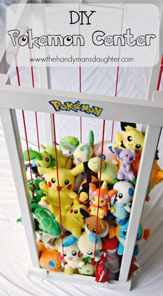 Woodworking Projects For Kids 25 Beginner Woodworking Projects - The Created Home - Do you have a Pokemon master at your house? This DIY Pokemon Center is a great way to corral those Pokemon stuffed animals, or make it a zoo instead! Pokemon Decor, Pokemon Room, Pokemon Craft, Pokemon Plush, Pokemon Diys, Papercraft Pokemon, Pokemon Stuff, Pokemon Birthday, Pokemon Party