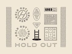 Brand system for Hold Out Brewing, a new Brewpub to open next year in Downtown Austin right by the train tracks, in between condos in an old Quonset Hut.
