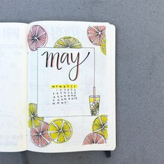 Bullet journal monthly cover page, May cover page, lemon slice drawings, lemonade drawing, hand lettering. | @chlotatopotato