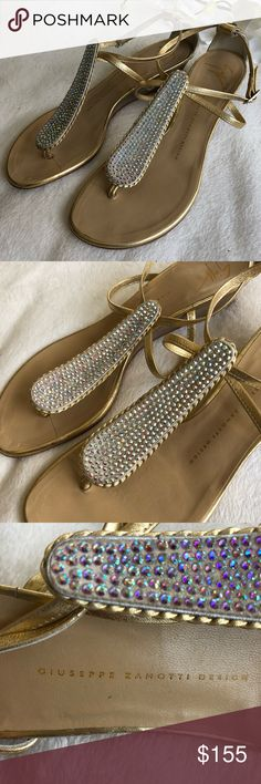 Giuseppe Zanotti Gold Sandals w/stones 8.5 wedge Gorgeous Giuseppe Zanotti Gold Sandals w/stones 8.5 low wedge, great condition well kept gently used  Please inspect picture before purchasing and ask questions if you have them  Stunning !!!! Giuseppe Zanotti Shoes Sandals