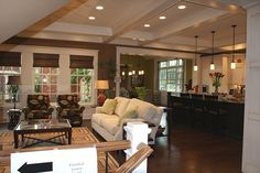 Astounding Open Living Room And Kitchen Designs: Beautiful Open Living Room And Kitchen Design With Recessed Lights And Hanging Pendant Lamp Combines With Wooden Floor Ideas ~ systink.com Kitchen Designs Inspiration