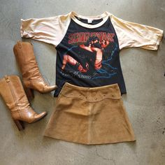 """84' Scorpions """"Love At First Sting"""" Tour Raglan Tee $125+$8(shipping) domestic. Size Small (25""""x20.5""""). Suede Mini Skirt size Medium. $58+$8(shipping) & 70's  Italian Leather Boots size 6.5. $42+$18(shipping) domestic. Contact the shop at 415-796-2398 to purchase by phone or PayPal afterlifeboutique@gmail.com and reference item in post."""