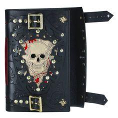 Leather journal skull journal leather skull metal by skrocki