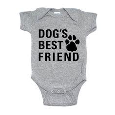 Dog's Best Friend Baby Infant Onesie Bodysuit Short Sleeve Cotton Gender Neutral Heather Grey