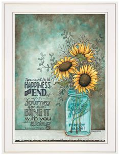 Love this vase wall art wall decor All Along Tonya Crawford Happiness Quote Sunflowers Framed Art Print Picture Wall Decor Sun flower home décor can be incorporated into your home by the Wall Decor Pictures, Print Pictures, Sunflower Home Decor, Sunflower Bathroom, Sunflower Room, Sunflower Crafts, Art Encadrée, Sunflower Canvas, Sunflower Paintings