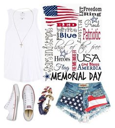 """Fourth of July"" by southern-mom ❤ liked on Polyvore featuring Velvet, Converse, Brooks Brothers and Tiffany & Co."