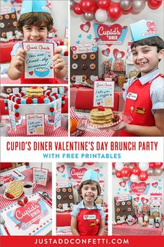 We love you a whole brunch! Welcome to Cupid's Diner! This Valentine's Day Family Brunch party is a waffle lot of fun! Full of red gingham, lots of hearts, a ton of FREE party printables, a plateful of puns, and retro diner inspired DIYs, this party will have your customers going donuts over the newest diner in town. #valentinesday #kidsvalentines #retro #diner #weloveyouawholebrunch #loveyouawafflelot #JustAddConfetti #retrodiner #dinerparty #partyblogger