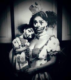 Mother daughter Halloween costume ideas. Creepy clown, success!