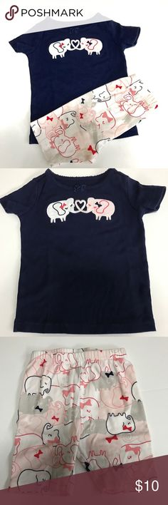 Gymboree shortie Gymmies Gymboree shortie Gymmies - top is navy with two elephants making s heart with their trunks Bottoms are elephants in gray, white & pink. Gymboree Pajamas Pajama Sets