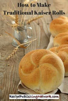 Kaiser rolls, which are also known as hard rolls or Vienna rolls, are very popular in the United States and Canada. The following Kaiser roll recipe is simple to follow and these rolls go nicely with hamburgers, making a change from sesame burgers buns or similar kinds of buns.