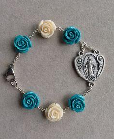 Miraculous Medal Blue and White Roses Bracelet by AveMariaFaithcrafts on Etsy
