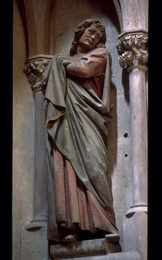 Attributed to the Master of Naumburg, Sorrowing St. John the Evangelist; right figure from central Crucifixion group, West Choir (Rood) Screen, Cathedral of St. Peter and St. Paul, Naumburg (Saxony-Anhalt), Germany