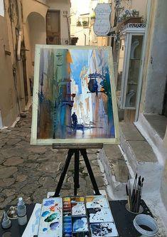 Plein- Air Watercolor Streetscape Work in Progress Thomas W Schaller Sperlonga Italy - 29 April 2016