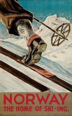 Vintage 1930's Norway Ski Travel Poster.