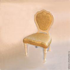 """Купить Стульчик для куклы №5 """"12 стульев"""" - белый, золотой цвет, стульчик, стул"""
