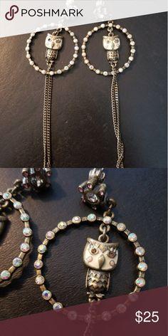 Owl earrings Dangly piste owl earrings wirh crystal detail Juicy Couture Accessories