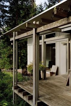 Modern home with Outdoor and Small Patio, Porch, Deck. Cabin at Longbranch Timber Cabin, Timber Roof, Forest Cabin, Forest House, Small Patio, Interior Exterior, Interior Design, Architecture Details, Architecture Student