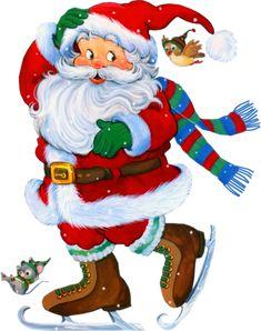 Transparent Santa with Skates Clipart