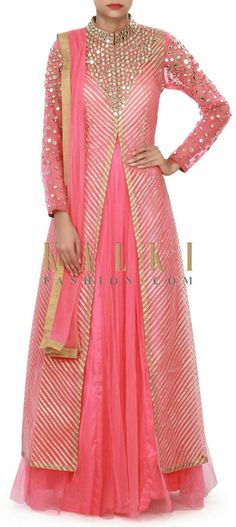 Coral pink anarkali suit adorn in gotta patti and mirror embroidery only on Kalki Anarkali Dress, Anarkali Suits, Patiala Salwar, Lehenga, Sharara, Indian Wedding Outfits, Pakistani Outfits, Indian Outfits, Indian Attire
