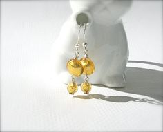 Gold Venetian Glass Earrings by KatieBugCreations4U on Etsy, $18.00