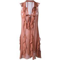 Chloé Ruffle Sleeveless Dress (€1.105) ❤ liked on Polyvore featuring dresses, flounce dress, ruffled dresses, chloe dress, loose fitting dresses and flutter-sleeve dress