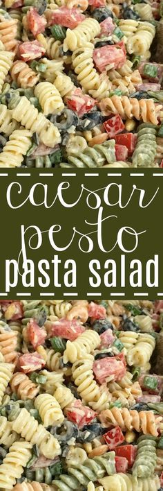 Caesar Pesto Pasta Salad   Pasta Salad Recipe   Salads   Side Dish   Caesar pesto pasta salad will be a hit at your next bbq, picnic, or dinner! Tender spiral pasta covered in a creamy Caesar pesto dressing, chopped tomatoes, olives, parmesan cheese, and pine nuts. So simple and easy to make and crazy delicious. #pastasalad #sidedish #saladrecipes