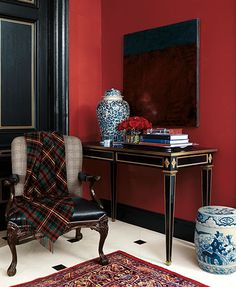 Combine bold color with a touch of metallic for timeless style. Try Ralph Lauren's iconic Hunting Coat Red, with Parlor Gold Metallic specialty finish on the trim.