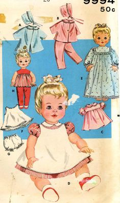 """Vtg Toddler Baby Doll Clothes Dress Pattern ~ 16/"""" 17/"""" Saucy Walker Tootles"""