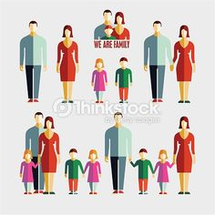 Arte vectorial : People flat icons. Family flat icons.