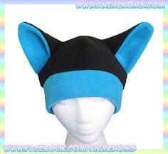 Anime Kitty Hat Black and Blue  Neko Fleece Warm Rave by AnimeNoms, $14.99