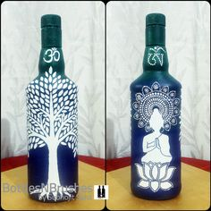 Simple buddha and tree design on bottle Beer Bottle Crafts, Bottle Cap Projects, Wine Bottle Art, Painted Wine Bottles, Empty Plastic Bottles, Pottery Painting Designs, Bottle Painting, Shabby, Diy