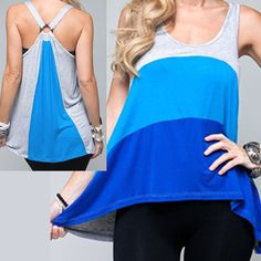 NEW Women Tri-Colored Sleeveless Summer Sun Tank TOP Blouse USA MADE Blue Orange $35.98 we sell more womens tops at http://www.tropicalfeel.com