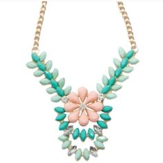 Floral Ivy Minty Necklace Beautiful piece to transition into Spring!! Floral and Ivy in soft mint green and pink! 18k white gold plated with glass crystals. Nickel & lead free. T&J Designs Jewelry Necklaces