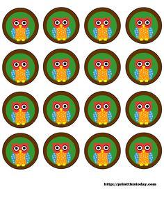free printable owl themed party labels
