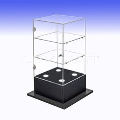 Acrylic display cabinets with shelving and locking doors.  Designed and manufactured in the UK.