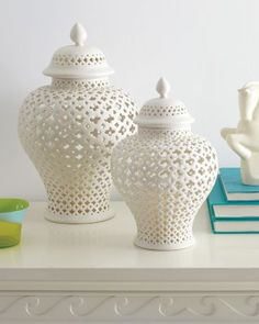 Gorgeous Trellis Porcelain Jar from Garnet Hill.