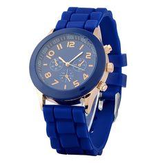 Zodaca Dark Blue Analog Quartz Silicone Jelly Sports Watch $10