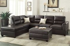 3pc Sectional Sofa Espresso W Ottoman : sybella sectional - Sectionals, Sofas & Couches