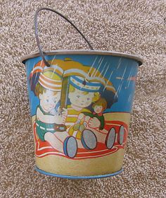Vintage Childs Beach Toy Tin Metal Made in Germany Sand Pail Umbrella