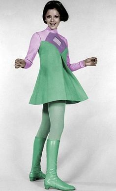 space age fashion mod mini dress green purple go go boots model vintage fashion style Angela Cartwright as Penny Robinson on Lost in Space. 60s And 70s Fashion, Retro Fashion, Vintage Fashion, Moda Vintage, Vintage Mode, Vintage Outfits, Vintage Dresses, Space Fashion, Fashion Design