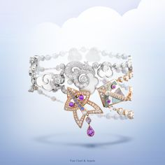 New Van Cleef & Arpels Cerfs-Volants™ collection Cerfs-Volants™ bracelet - pink gold, pink and mauve sapphires, white gold, white and grey mother-of-pearl and diamonds - #VCACerfsVolants