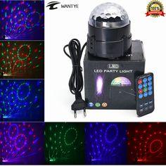 Mini lámpara rgb led bola mágica cristalina del efecto de etapa de iluminación del partido del disco de dj club bar espectáculo de luz + mando a distancia