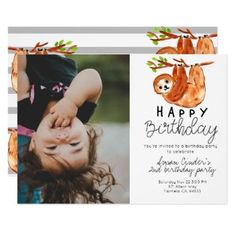 Shop Cute sloth kid birthday photo invitation created by Writelovely. Personalize it with photos & text or purchase as is! Birthday Thank You Cards, Photo Birthday Invitations, Birthday Invitations Kids, Wild One Birthday Party, Boy Birthday Parties, Birthday Fun, Birthday Ideas, Birthday Gifts, Cute Sloth