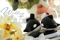 bride and groom  orca  whale  Wedding Cake Topper by kikuike, $110.00