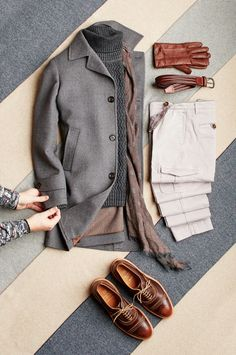 TOPCOAT: Wool/Cashmere - Eleventy (italy) SWEATER: Cable Turtle - Benson (turkey) PANTS: Stretch Cotton Cargos - Eleventy (italy) SCARF: Corneliani (italy) BELT: Stretch Leather - Anderson's (italy) GLOVES: Soft Deerskin - Canali (italy) SHOES: 'Strandmok' Allen Edmonds (usa)