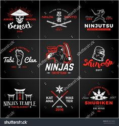 Set Of Japan Ninjas Logo. Katana Weapon Insignia Design. Vintage Ninja Mascot Badge. Martial Art Team T-Shirt Illustration Concept - 368136302 : Shutterstock