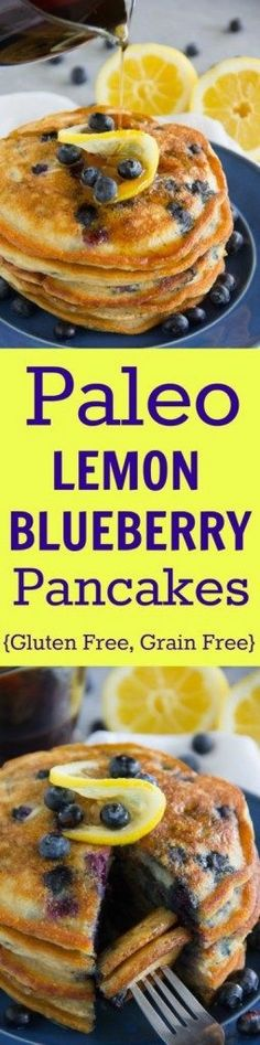 These tasty Paleo Lemon Blueberry Pancakes are gluten free, grain free, dairy free and sure to please even the finickiest eater!!
